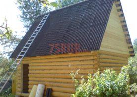 Сруб бани 3 на 6 с двускатной мансардной крышей