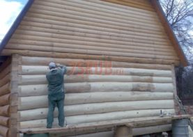 Сруб дома 5 на 6 с ломаной крышей