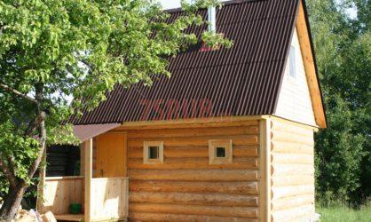Сруб бани 4 на 5 с двускатной мансардной крышей