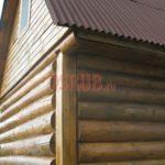 Сруб бани 4 на 5 метров с двускатной мансардной крышей(6)