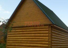 Сруб бани 5 на 6 с двускатной мансардной крышей