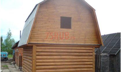 Сруб бани 3 на 5 с ломаной мансардной крышей