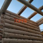 Сруб бани 3 на 4 с верандой и двускатной крышей сборка