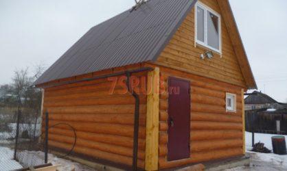 Сруб бани 4 на 6 с двускатной мансардной крышей